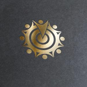 Zielscheibe Logo in Gold