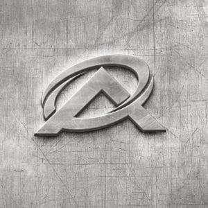 A Logo auf Metallfläche