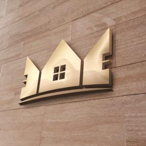 Haus Logo auf Steinwand
