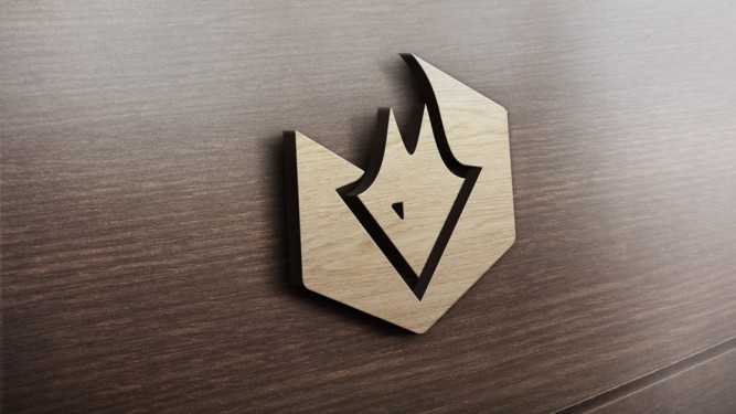 3D Fuchs Logo auf Holzwand